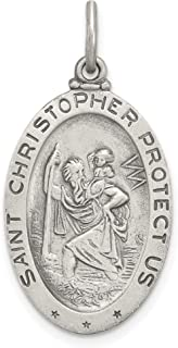 Oval Saint Christopher Protect Us Words Soccer Player Charm In 925 Sterling Silver 30x17mm
