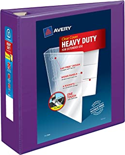 """Avery 3"""" Heavy Duty View 3 Ring Binder, One Touch EZD Ring, Holds 8.5"""" x 11"""" Paper, 1 Purple Binder (79810)"""