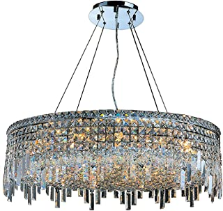 "Worldwide Lighting W83604C32 Cascade 18 Light Chrome Finish with Clear Crystal Chandelier, 32"" x 32"" x 10.5"", Silver"
