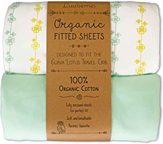 Guava Lotus Travel Crib Sheets (Set of 2) - 100% Organic Cotton Crib Sheets, Baby and Toddler, Fitted Crib Sheets, for Boys & Girls (for The New 4 TAB Mattress ONLY) (Yellow and Green)