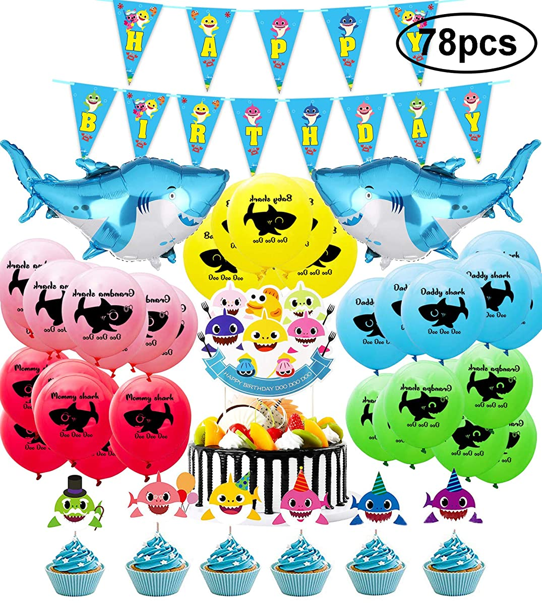 78 Pack Cute Shark Party Supplies Decorations Set,Including Shark banner, Shark balloons, Shark Cupcake Toppers and Shark Cake Toppers Ideal for Kids Girls Boys Shark Theme Birthday Baby Shower Party Decorations