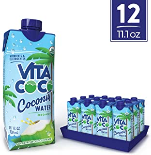 Vita Coco Coconut Water, Pure Organic | Naturally Hydrating Electrolyte Drink | Smart Alternative To Coffee, Soda, & Sports Drinks | Gluten Free | 11.1 Oz (Pack Of 12)