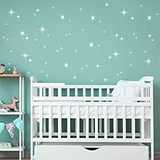 108 Pieces Sparkly Starburst Vinyl Wall Decal Starry Sky Baby Nursery Wall Stickers Stars Kids Home Room Wall Decor DDK13...