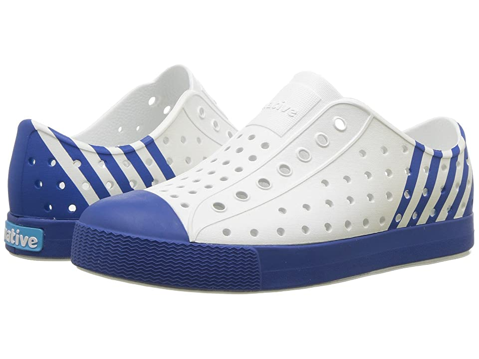 Native Kids Shoes Jefferson Block (Little Kid/Big Kid) (Shell White/Victoria Blue/Victoria Stripe) Kid