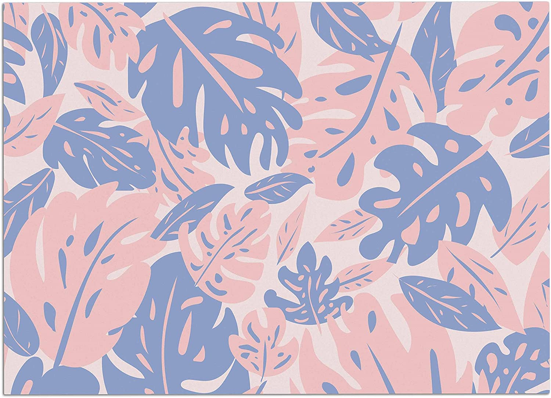 KESS InHouse Will Wild pink Quartz & Serenity Jungle Pink Floral Dog Place Mat, 24  x 15
