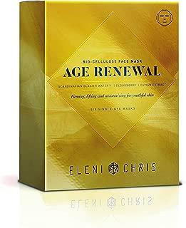 Eleni & Chris - Age Renewal Bio-Cellulose Face Mask, Firming and Moisturizing for Youthful Skin, Six Single Use Full Face Sheet Masks .91 Fl oz