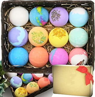Bath Bombs Gift Set 12 Large 80g Fizzies with Pure Essential Oils, Coconut Oil, Epsom Salt, and Kaolin Clay, Kid Safe, Gre...