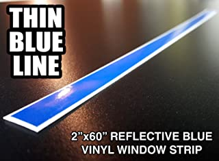 Oracal/3M 2x60 Thin Blue Line Reflective Window Decal Sticker Police Blue Lives Matter by A1A Sales