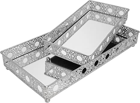 Amazon Com Set Of 2 Bathroom Vanity Tray Decorative Tray Mirror Tray Serving Tray Perfume Collection Tray Candle Tray Home Kitchen