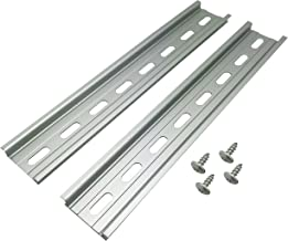 """Electrodepot Slotted Aluminum DIN Rail, 35mm x 8"""", Silver – 2 Pieces with 4#10 Stainless Steel Screws"""