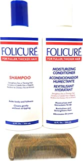 Folicure Shampoo and Folicure Moisturizing Conditioner 12 Ounce Bundle Includes a Sandalwood Organic Wooden Comb