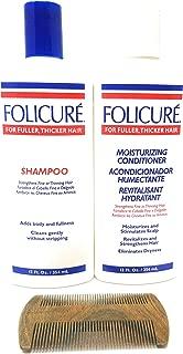 Folicure Shampoo and Folicure Moisturizing Conditioner 12 Ounce Bundle Includes a Sandalwood Organic Wooden Comb