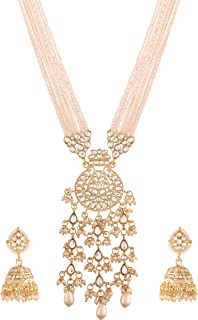 I Jewels 18k Gold Plated Ethnic Kundan Pearl Studded Long Necklace Set For Women (ML296W)