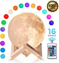 Moon Lamp (5.9 inch) with 16 Colors Night Light with Stand and Remote & Touch Control USB Charge for Children Kids Couple Gift Birthday Gift Bedroom 3D Printed Material Realistic Surface …