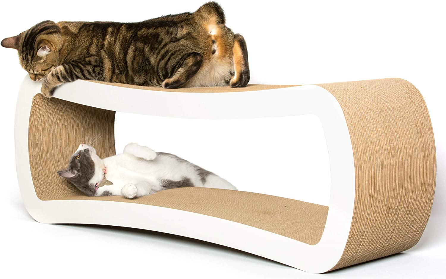 PetFusion Jumbo Cat Scratcher Lounge (99 x 28 x 36 cm, Cloud White). Superior Cardboard & Construction, significantly outlasts cheaper alternatives.