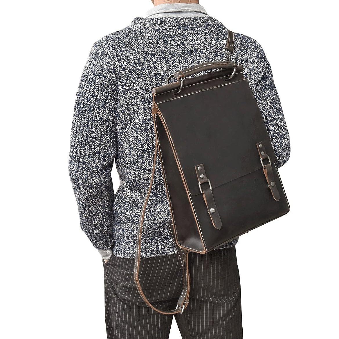 お母さん折びっくりリュックサック 本革 メンズ A4対応 自立可 ビンテージ 3WAY バッグパック 牛革 手提げバッグ お洒落 レザー ディバッグ 男女兼用 通勤鞄 通学鞄 雑誌、IPadなど収納