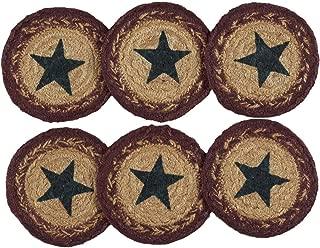 VHC Brands Americana Primitive Tabletop & Kitchen - Potomac Tan Stencil Star Jute Coaster Set of 6, Creme