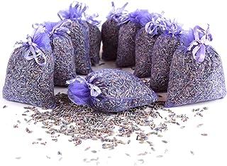Quertee 10x lavendelzakjes geurzakjes met lavendelbloemen als bescherming tegen motten in de kledingkast met Franse lavend...