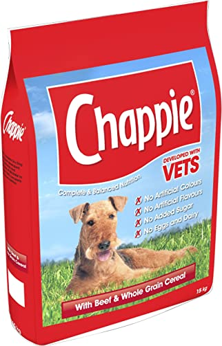 Chappie Complete Dry Dog Food for Adult Dogs with Beef and Wholegrain Cereal, 1 Bag (1 x 15 kg) product image