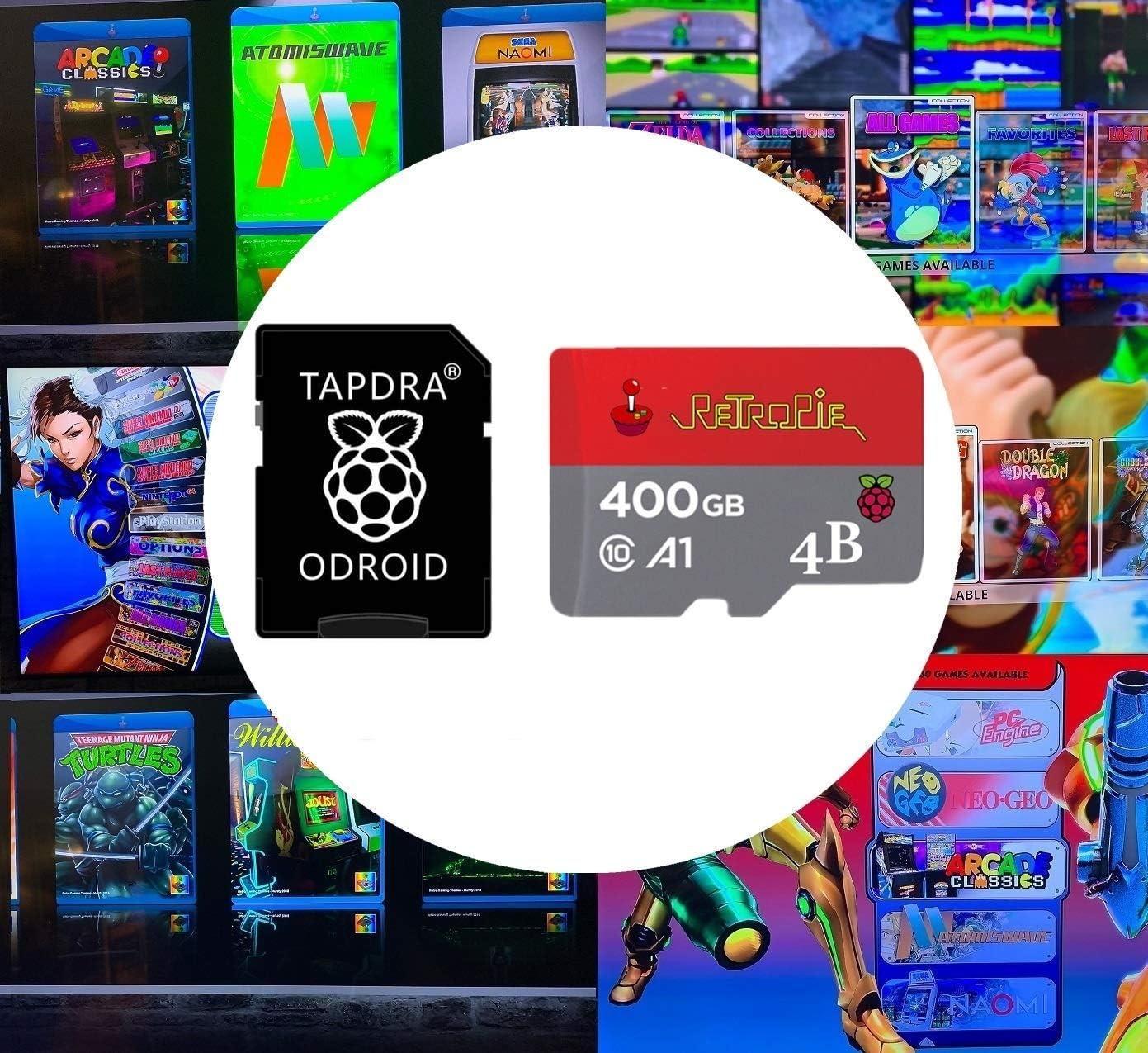 TAPDRA 400GB Retropie 4.6 Tarjeta SD de estación de emulación - para Vistas previas de Video de Raspberry Pi 4 3D Boxart - 14,600+ Juegos 50 Sistemas Plug & Start