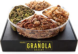 Granola Bakery - Gourmet Nut Blend Gift Box   Keto, Gluten Free, Grain Free, Vegan, Diabetic Diet Friendly Variety Nut Mix Assortment   Fresh Holiday Prime Delivery Gifts Basket (1.6lb Tray)