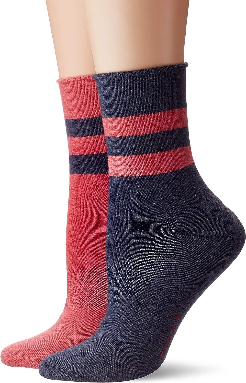 Esprit Damen Socken Sporty Melange Stripe 2er Pack Baumwollmischung 2 Paare Blau Sortiment 30 Größe 35 38 Bekleidung
