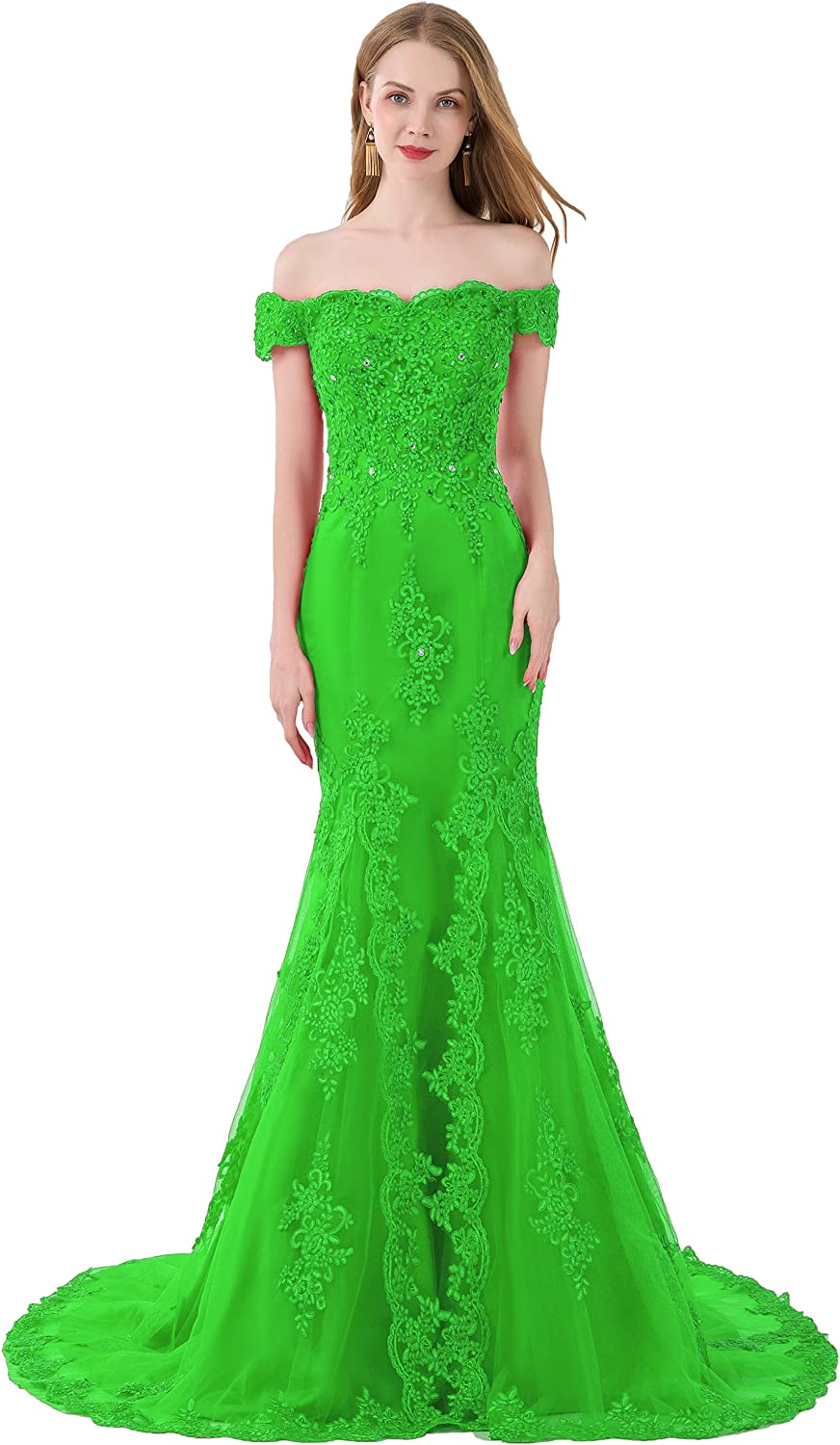 Scarisee Mermaid Off Shoulder Evening Party Prom Dress Lace Appliqued Beadeda111