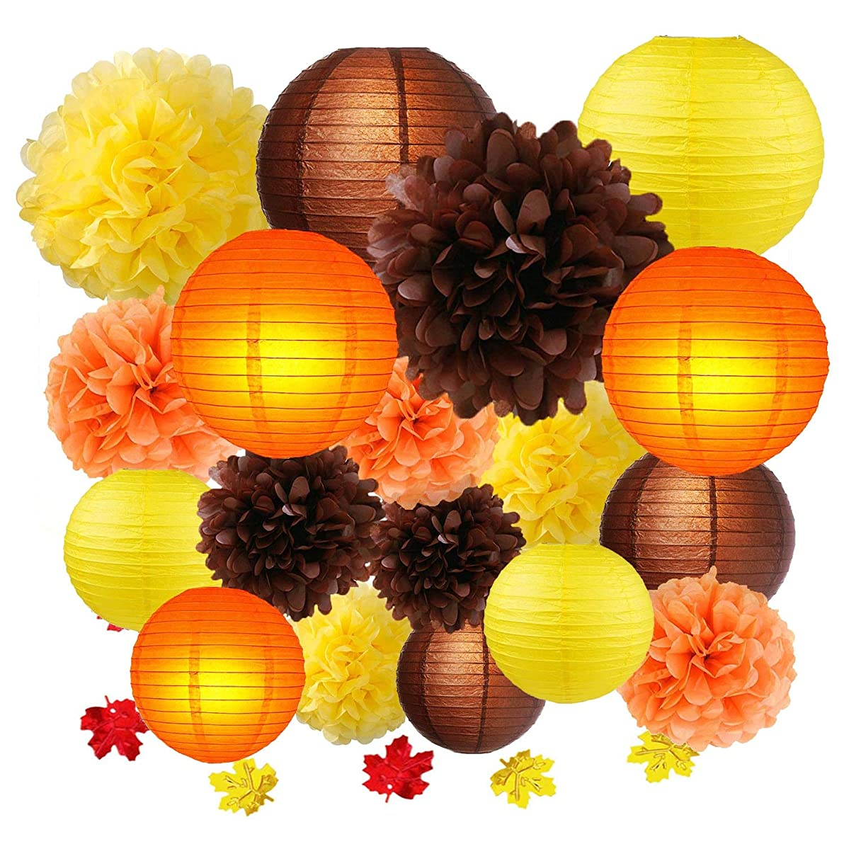 Thanksgiving Party Decoration kit, Fall Harvest Yellow Orange Brown Hanging Tissue Paper Pom poms Paper Lanterns, Autumn Confetti Table Decorate Baby Shower Wedding Birthday Party Supply