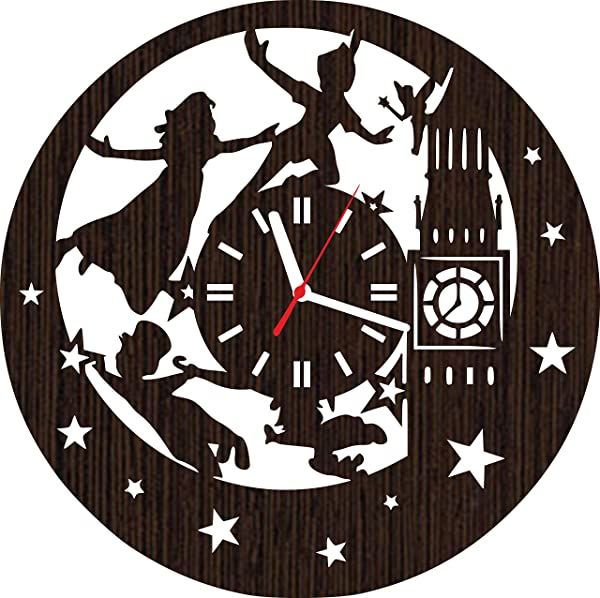 Wooden Wall Clock Peter Pan Gifts For Kids Boys Girls Room Decorations Baby Shower Movie Party Supplies Bedding Christmas DVD Poster Women Collectibles Vinyl