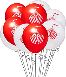 20 Pack Red White Circus Tent 12 Inch Latex Carnival Party Balloons with 32' White Curling Ribbon