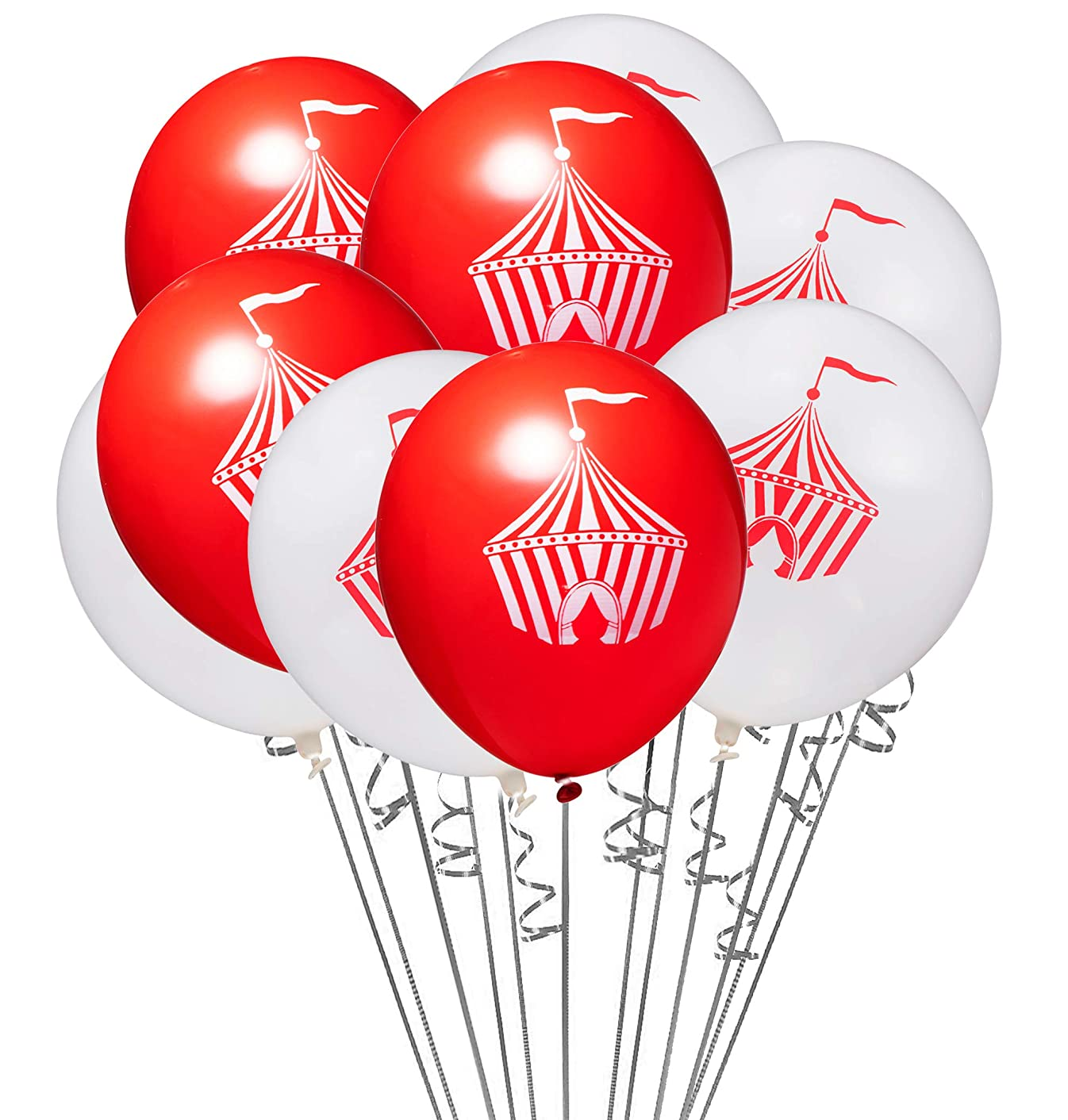 20 Pack Red  White Circus Tent 12 Inch Latex Carnival Party Balloons with 32