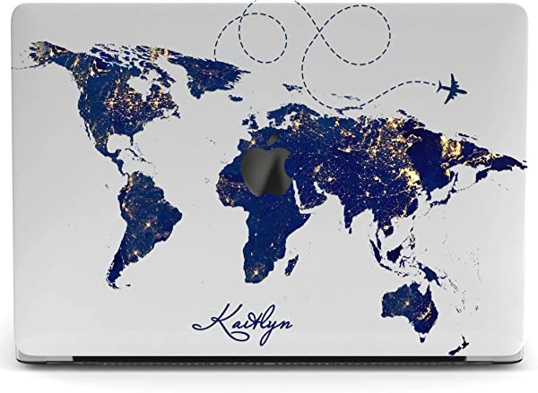 Wonder Wild Mac Retina Cover Case For MacBook Pro 15 Inch 12 11 Clear Hard Air 13 Apple 2019 Protective Laptop 2018 2017 2016 2015 Plastic Print Touch Bar Custom World Map Continent Blue Travel Plane