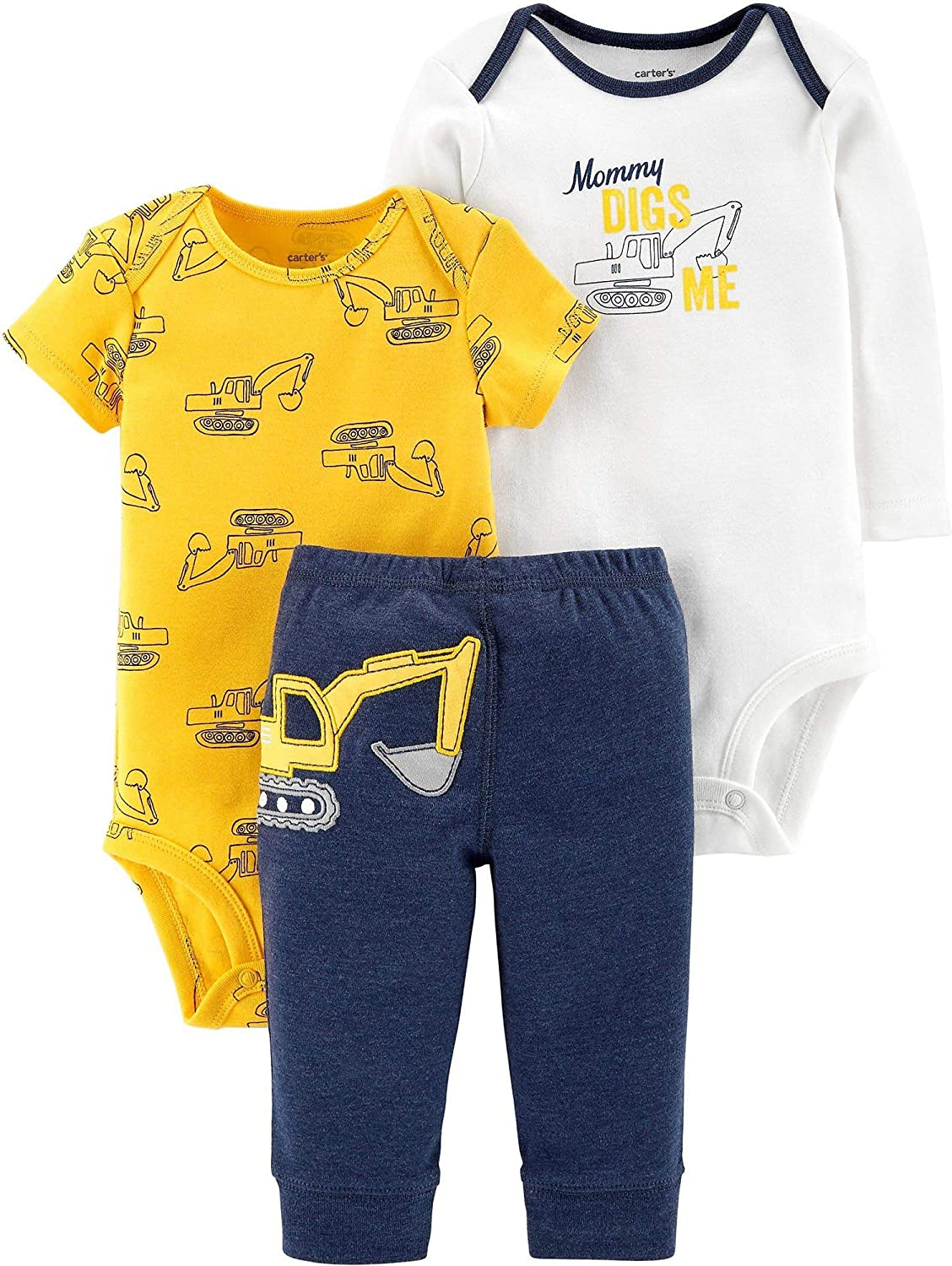 Carter's Baby Boys' 3-Piece Little Character Set (Yellow/Navy Construction, 6 Months)