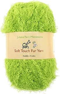 JubileeYarn 100g Soft Touch Fuzzy Fur Yarn, Lime Green 2 Skeins