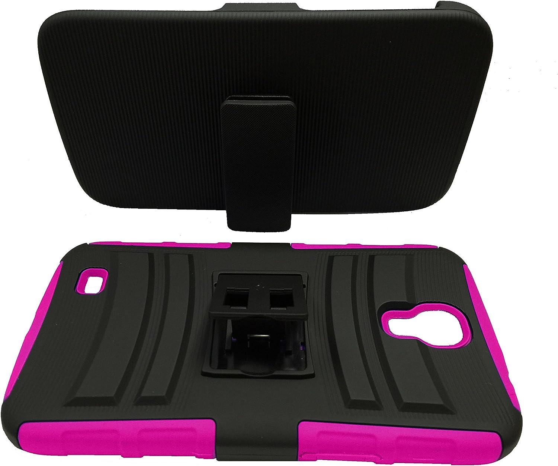 for Samsung Galaxy Mega 6.3, GT-I9200 I9205 Belt Clip Holster Hybrid Phone Cover Case + Happy Face Phone Dust Plug (Belt Clip Black-Pink)