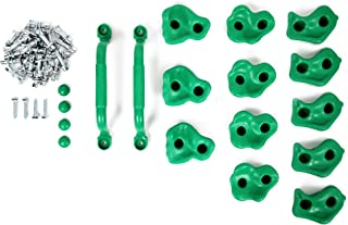 Powerfly Kids Rock Wall Climbing Holds - Set of 2 Safety Handles & 12 Screw On Green Climbing Jugs - Swing Playset Playground Equipment Accessories - Indoor or Outdoor Use - Mounting Hardware Included