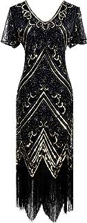 YENMILL Women's Flapper Dress 1920s V Neck Beaded Fringed Gatsby Theme Roaring 20s Dress for Prom