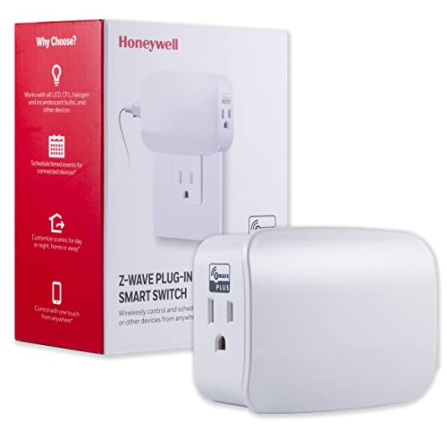Honeywell Z-Wave Plus Smart On/Off Light and Appliance Switch, Dual Outlet