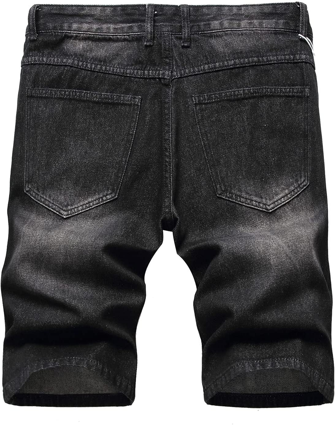 Men's Summer Vintage Ripped Hole Denim Short Washed Distressed Jeans Shorts Stretch Straight Jean Short with Zipper (Black,38)