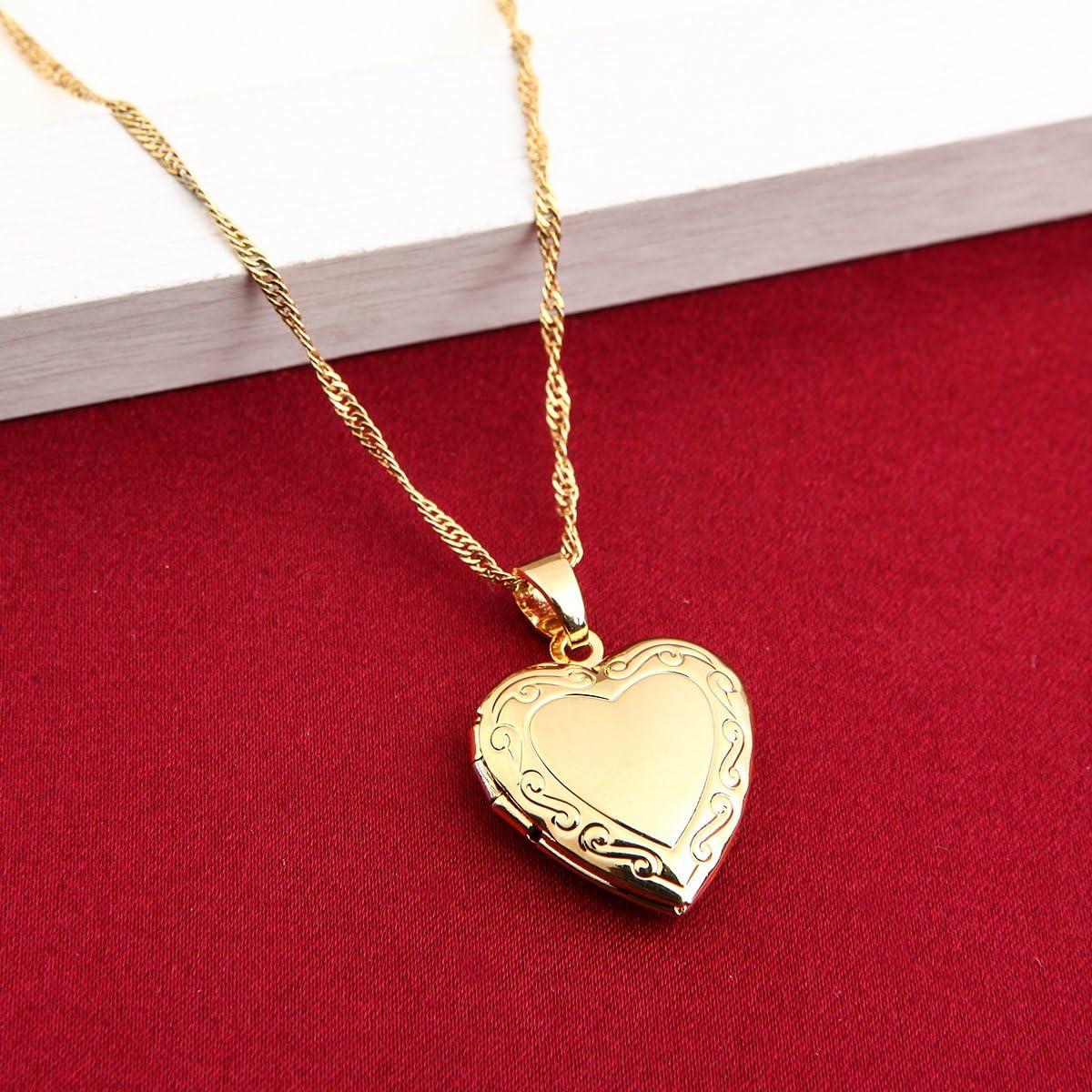 Valentines Heart Locket Pendant Necklace 24K Gold Color Romantic Fancy Heart Jewelry For Women