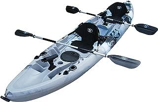BKC TK219 12.2' Tandem Fishing Kayak W/Soft Padded Seats, Paddles,6 Rod Holders Included 2-3 Person Angler Kayak