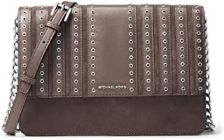 حقيبة يد نسائية من الجلد السويدي بروكلين من MICHAEL مطبوع عليها Michael Kors رمادي مقاس كبير