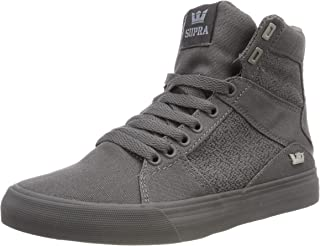 7ef6fbf0b945 Supra Aluminum Mens Gray Canvas High Top Lace up Sneakers Shoes