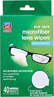 Rite Aid Eye Care Microfiber Lens Wipes - 40 Count | Cleaning Cloth for Glasses