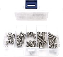iExcell 50 Pcs M6 x 8mm/10mm/12mm/16mm/20mm Stainless Steel 304 Hex Socket Button Head Cap Screws Assortment Hex Key Wrench Kit