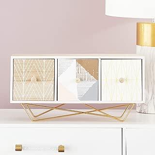 "CosmoLiving by Cosmopolitan 85269 Large Rectangular Wood Jewelry Box w/ 3 Drawers, Metallic Gold Legs & Boho Patterns | 19"" x 9"""