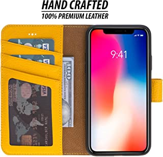 Burkley Case Detachable Leather Wallet Case for Apple iPhone X/iPhone Xs with Magnetic Closure and Premium Snap-on   Book Style Cover with Card Holders and Kickstand (Sunflower Yellow)