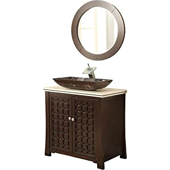 "30"" Giovanni Vessel Sink Bathroom Sink Vanity with Matching Mirror - Model # HF339A"