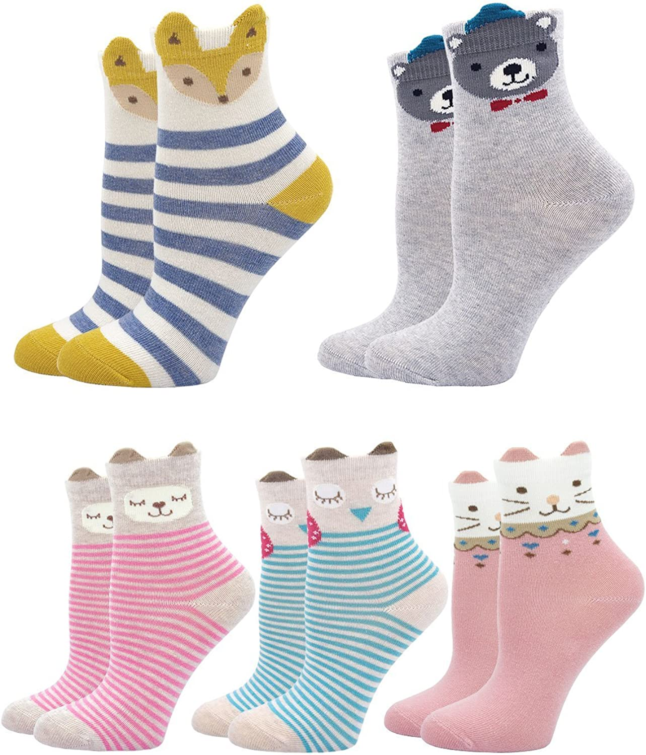 Kids Socks Cotton Animal Cute Funny Baby Toddler Ankle Sock for Boys and Girls 5 pair