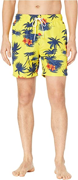 Hawaiian Palm Print Swim Trunks